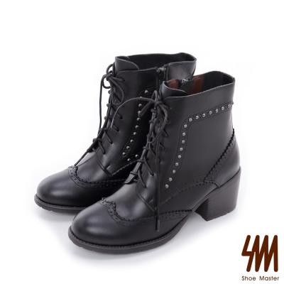 SM-台灣全真皮-牛津雕花鉚釘中低粗跟短靴-黑色