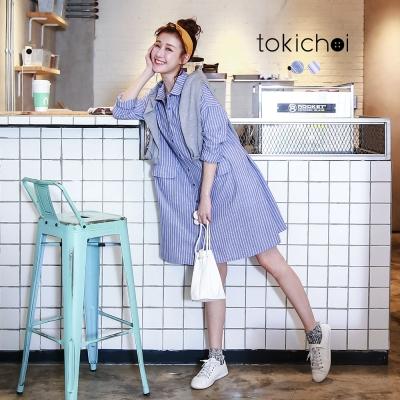 東京著衣 條紋口袋長版襯衫(共二色)