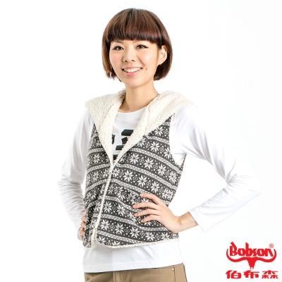 【BOBSON】女款雪花雙面穿背心(灰83)