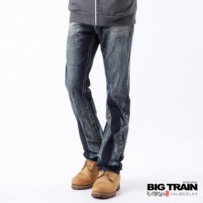 BIG TRAIN-惡童粗針小直筒褲-藍
