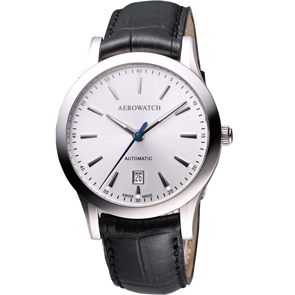 AEROWATCH  簡約紳士時尚機械腕錶-銀/41mm