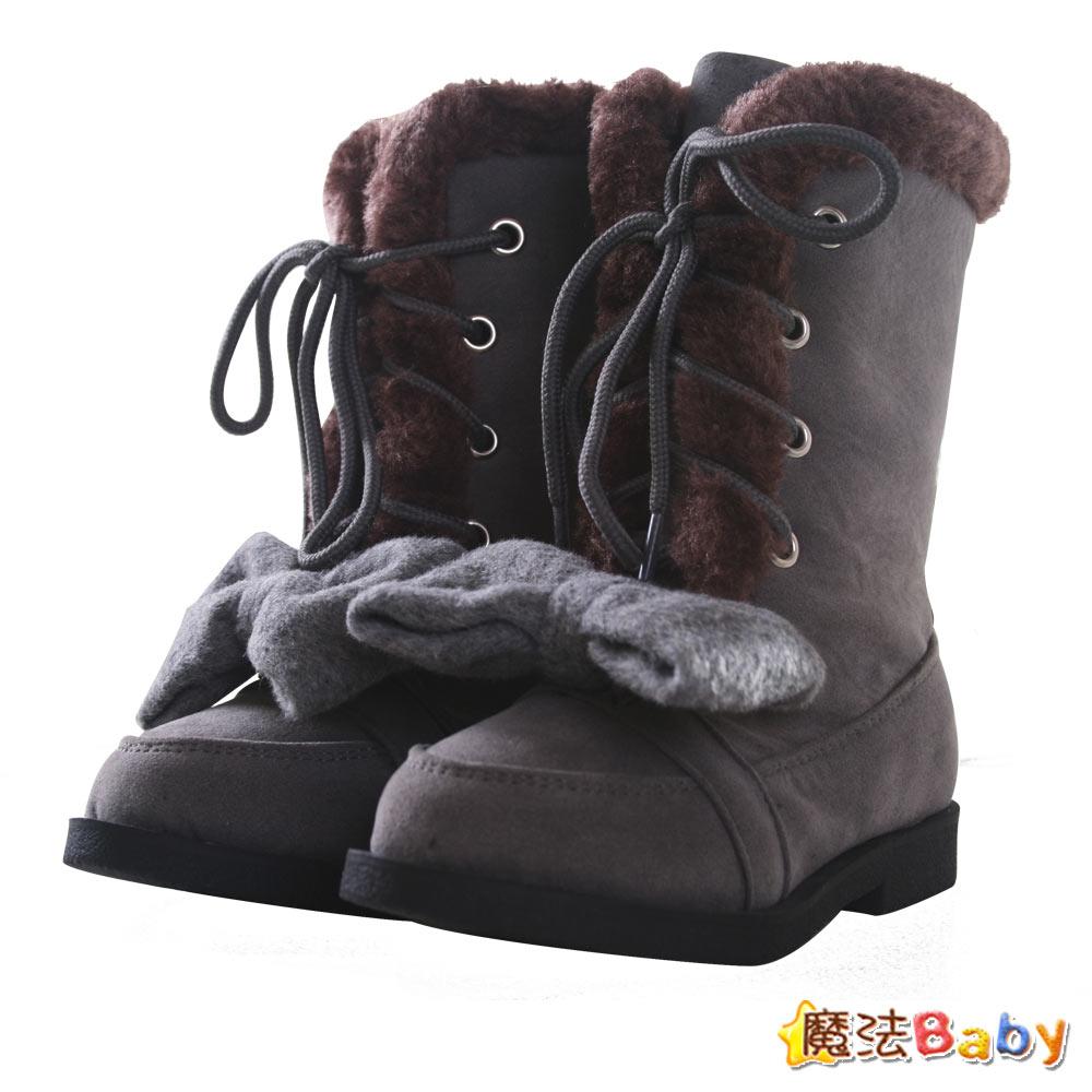 【KUKI酷奇】質感柔奈絨毛飾蝴蝶結中高筒靴~sh0224