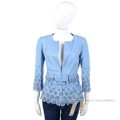 SCERVINO 水藍色簍空雕花小羊皮衣外套(附腰帶)