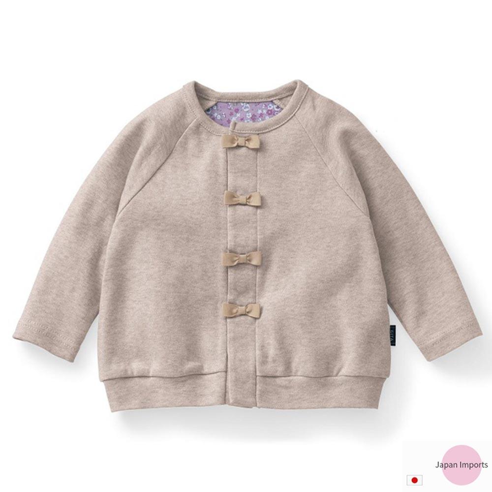 Japan Imports 米灰蝴蝶結扣款長袖休閒外套
