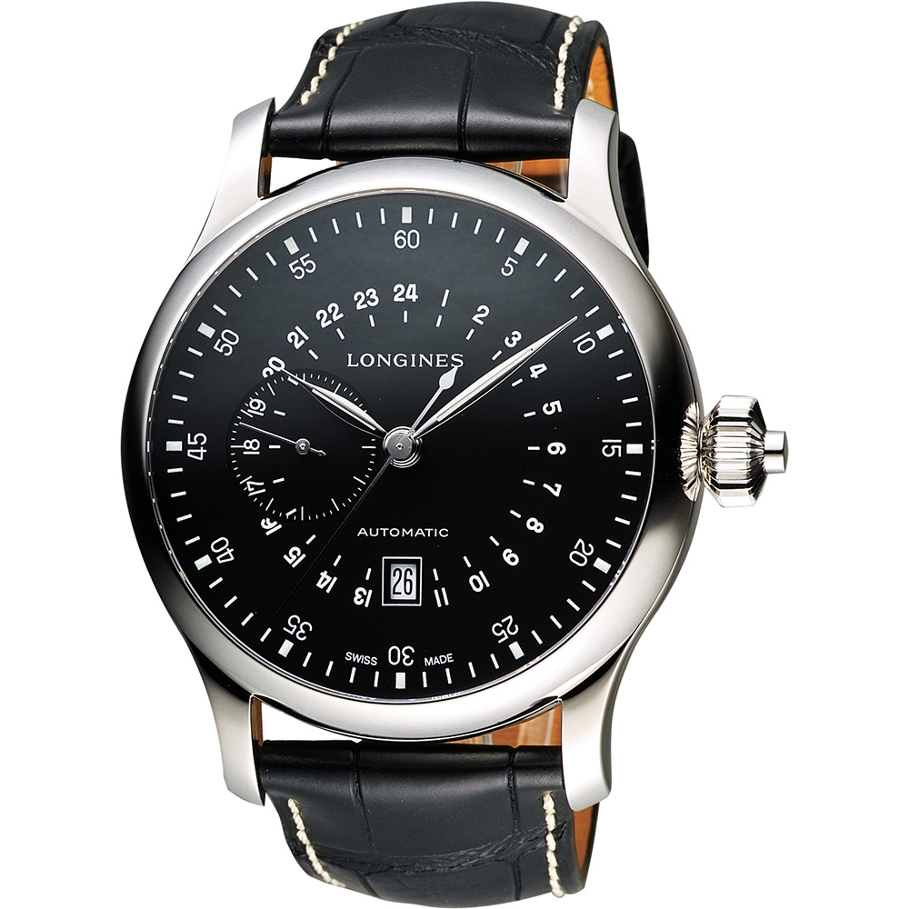LONGINES Heritage 24小時顯示小秒針機械腕錶-黑/48mm