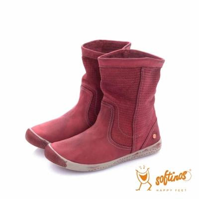 Softinos(女) HAPPY FEET 十字壓紋超軟牛皮中筒短靴 - ?度紅