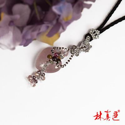 林真邑-富貴桃花碧璽粉晶心型項鍊