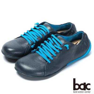 bac時尚樂活 舒適綁帶羊皮休閒鞋-藍