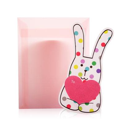 CRAFTHOLIC 宇宙人 七彩糖兔愛心卡片