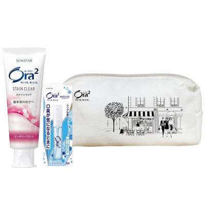Ora2-心機化妝包組合5-蜜桃牙膏140g-薄荷
