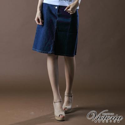 【BIG TRAIN】女款 多剪接A字裙(深藍)