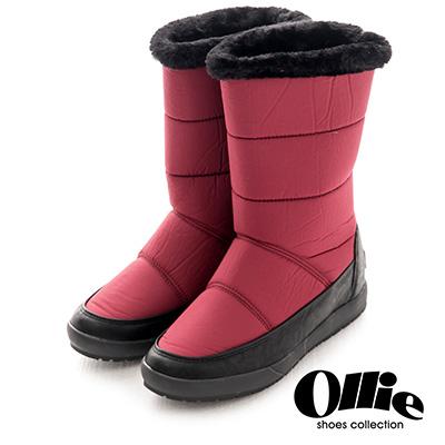 Ollie韓國空運-正韓製尼龍澎澎鋪毛鐵牌標高筒增高靴-紅