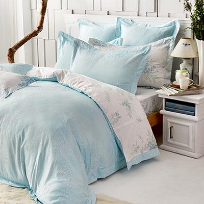 義大利La Belle 綠野仙蹤 雙人天竹緹印花四件式防蹣抗菌舖棉兩用被床包組