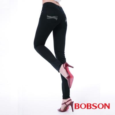 BOBSON-女款膠原蛋白彩色小直筒褲-黑色