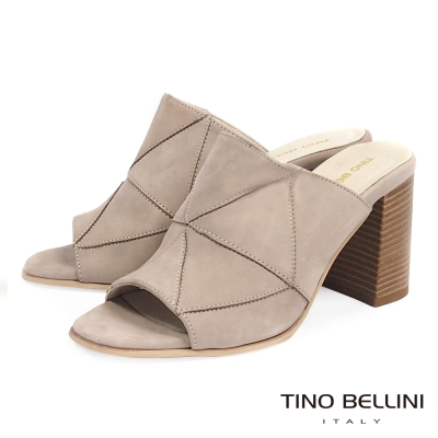 Tino Bellini 摩登幾何三角形拼接穆勒跟鞋 _淺灰