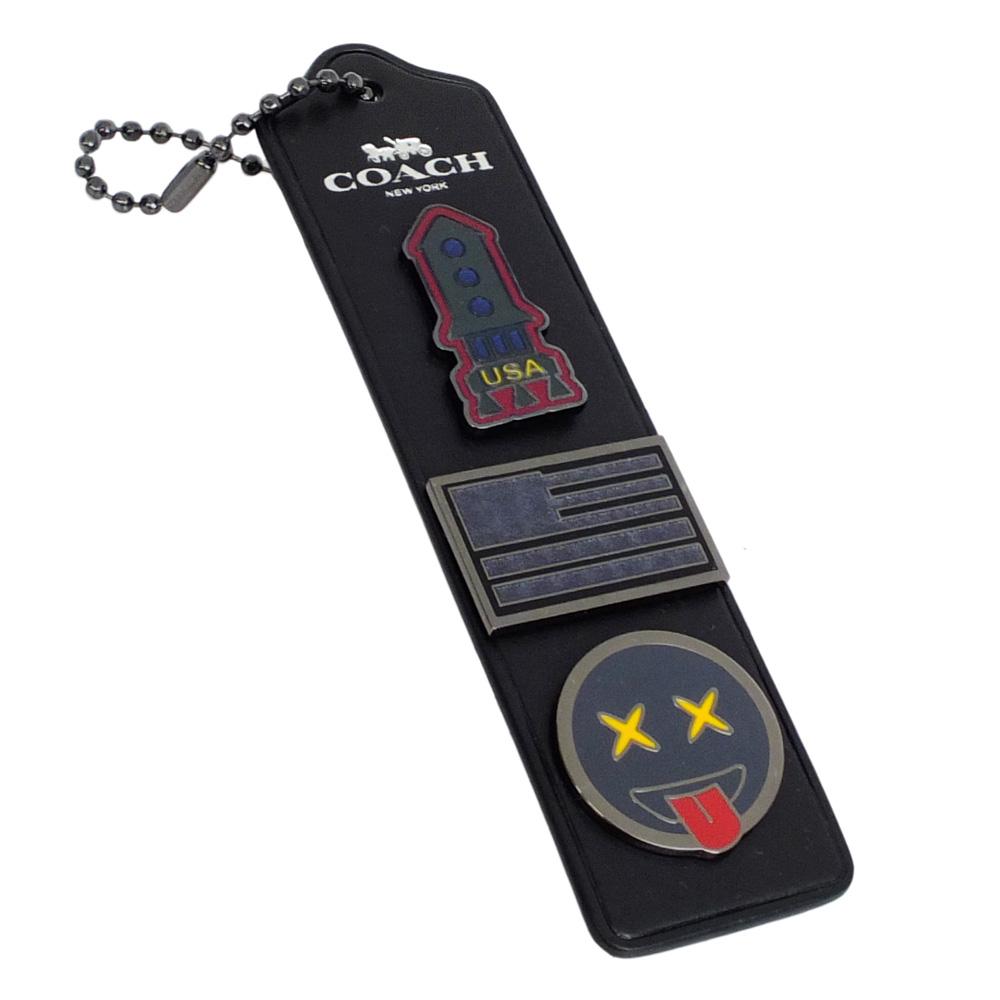 COACH黑色全皮吊牌EMOJI表情火箭別針組鑰匙圈