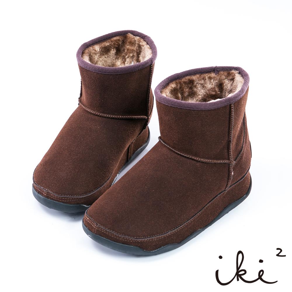 iki2 魅力滿點 冬日真皮機能保暖雪靴- 深咖