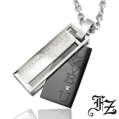 FZ 愛情密約白鋼項鍊(大款黑鋼)