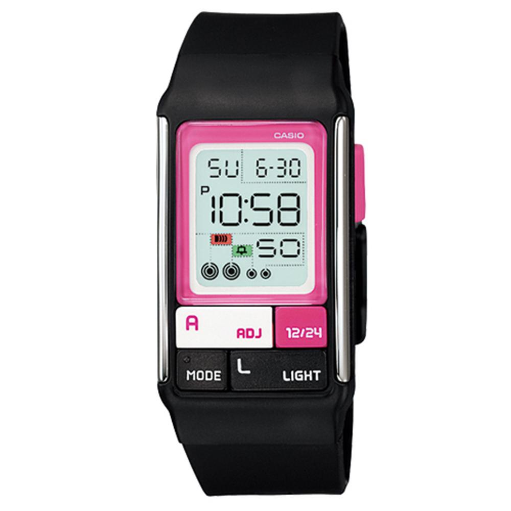 CASIO 新幾何積木方塊數字錶(LDF-52-1A)-黑/23..6mm