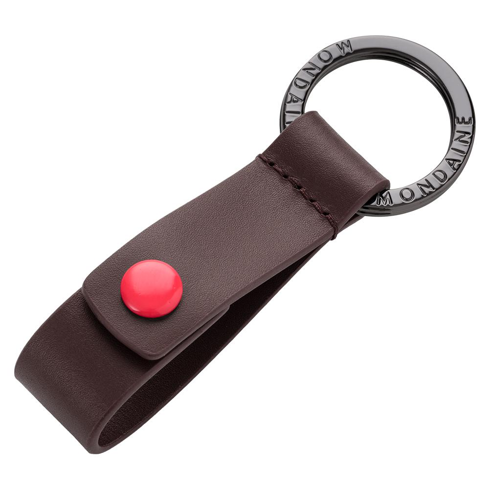 MONDAINE 瑞士國鐵紅點鑰匙圈-咖啡