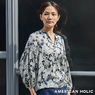 AMERICAN HOLIC 素面/碎花柄V領抓褶袖襯衫上衣