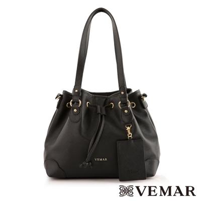 VEMAR名媛時尚束帶水桶包-經典黑