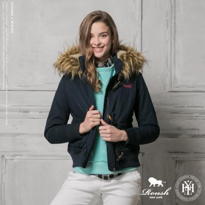 ROUSH 女生泰迪熊鋪毛設計牛角釦連帽短大衣 (2色)