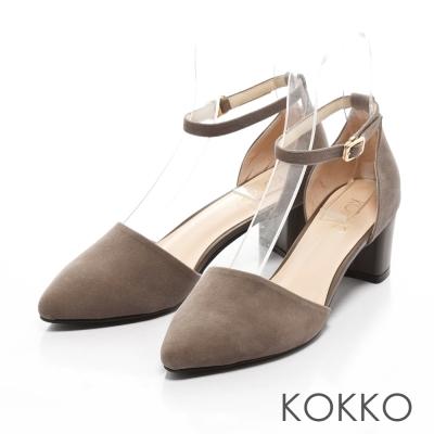 KOKKO-真皮法式優雅繫踝粗跟鞋-淡粉灰