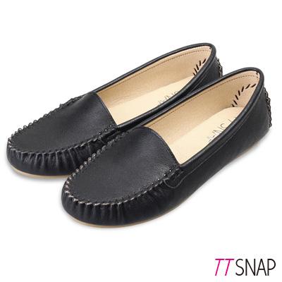 TTSNAP莫卡辛-MIT素面質感真皮豆豆鞋 黑