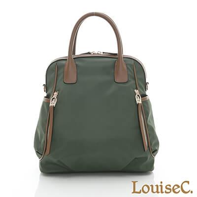 LouiseC. 多功能後背包-尼龍+牛皮-綠色-04N37-0043A08