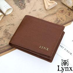 Lynx - 經典80復古風真皮系列5卡1照左右翻短夾-復古咖