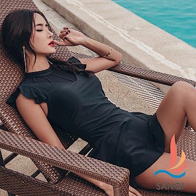 SANQI三奇  戀夏派對 一件式連身泳裝(黑M~2L)