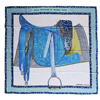 Hermes Grande Tenue馬鞍圖什米爾披肩/方巾(米X藍)
