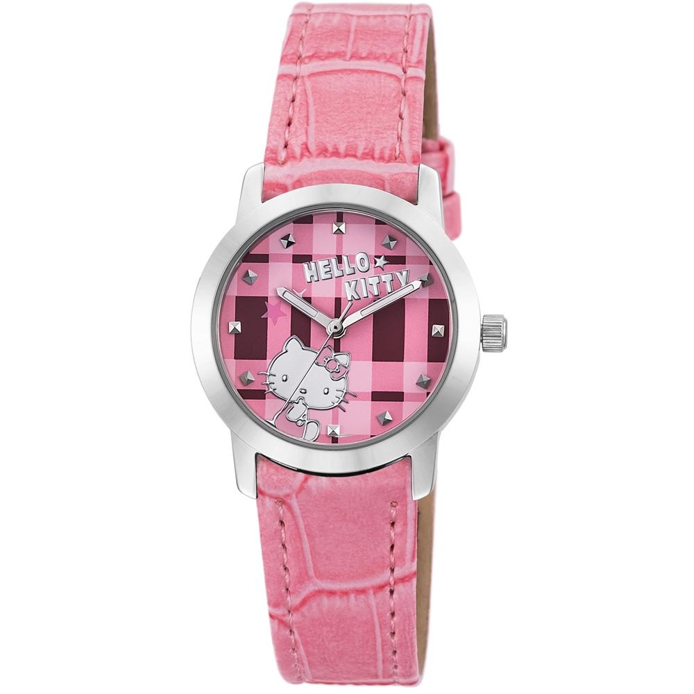 HELLO KITTY 凱蒂貓繽紛格紋造型手錶-粉紅/30mm