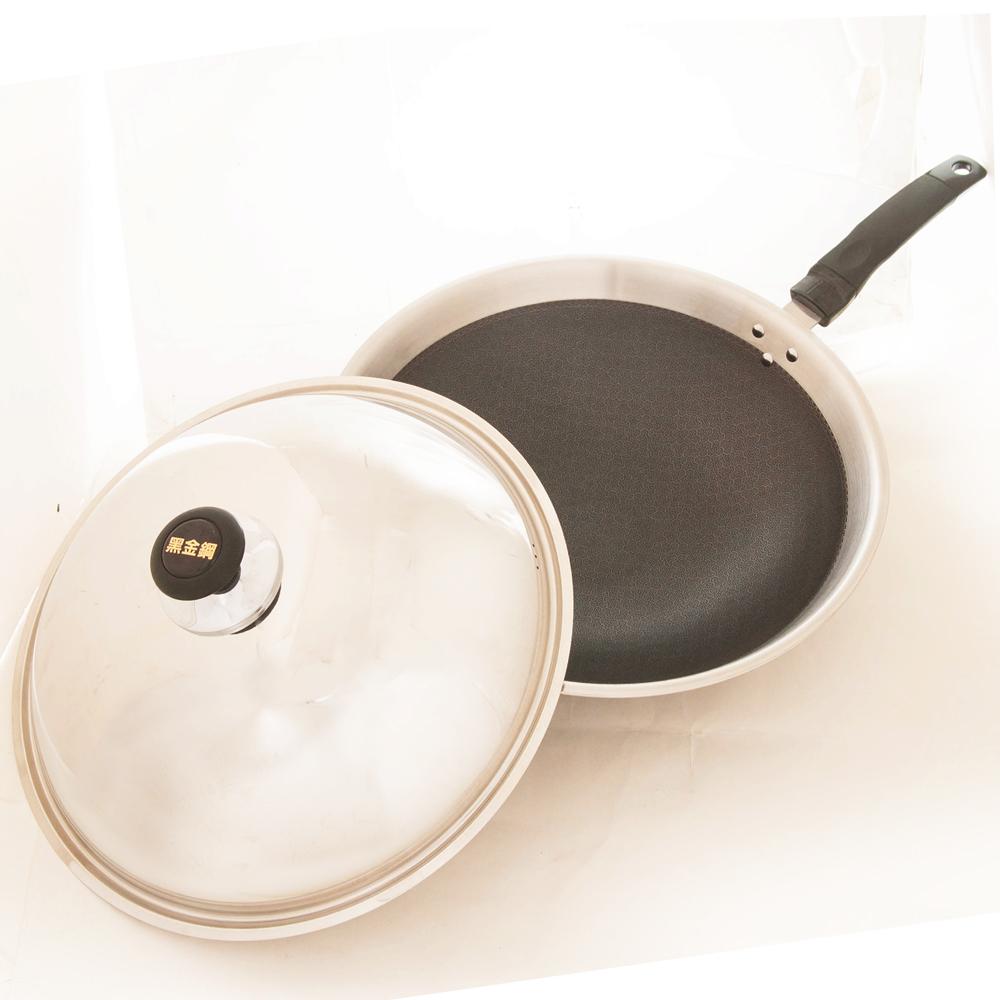 台灣好鍋 黑金鋼不鏽鋼不沾單柄炒鍋鍋42cm