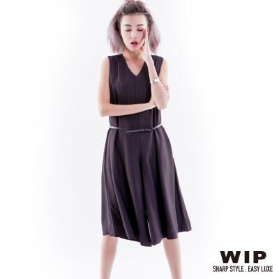 WIPX2-直條紋連身褲-黑