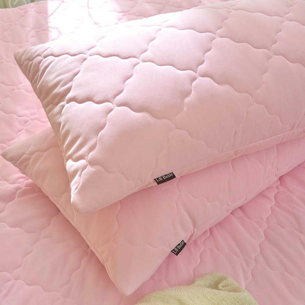 義大利La Belle 粉漾素色 涼感抑菌防水信封式保潔枕套二入-粉