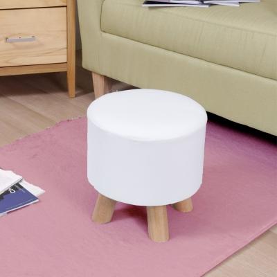 漢妮Hampton亞緹皮革圓腳凳-白色