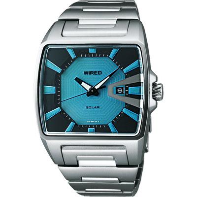WIRED Solar 日雜時尚太陽能腕錶(AUA017X)-土耳其藍