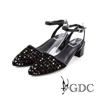 GDC-三角鏤空側扣帶真皮楔型厚底一字低跟涼拖鞋-黑色