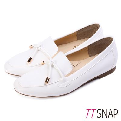 TTSNAP樂福鞋-MIT素色平滑光亮漆面休閒鞋 白