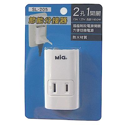 明家MIG 2孔1插1開關插座接頭(SL205)