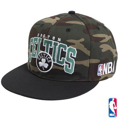 NBA-波士頓塞爾提克隊可調式迷彩嘻哈帽
