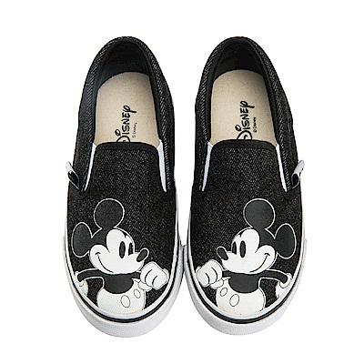 迪士尼 米奇 可愛復古造型 帆布便鞋-黑