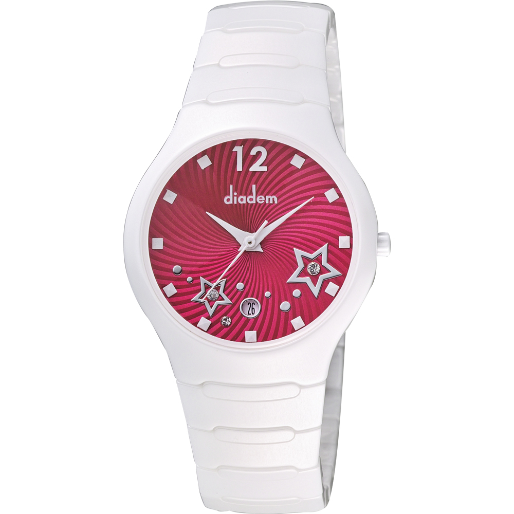 Diadem 黛亞登 甜蜜星空時尚白陶瓷腕錶-桃紅/36mm