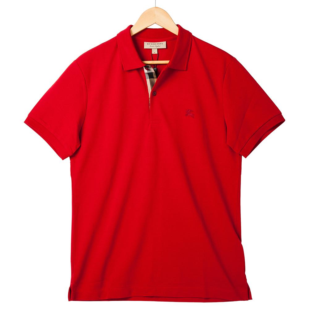 BURBERRY 經典格紋開襟珠地網眼棉質POLO衫 (軍紅色)