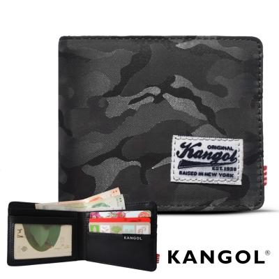 KANGOL 韓式潮流 多夾層橫式短皮夾+鑰匙圈禮盒-迷彩灰
