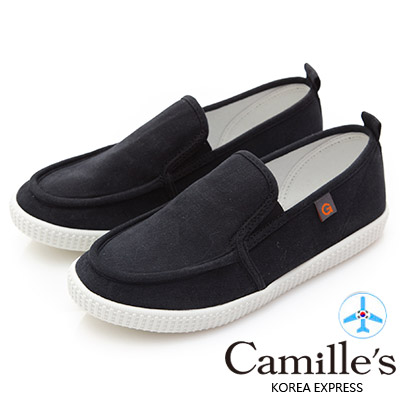Camille's 韓國空運-正韓製-馬卡龍色帆布懶人休閒鞋-黑色