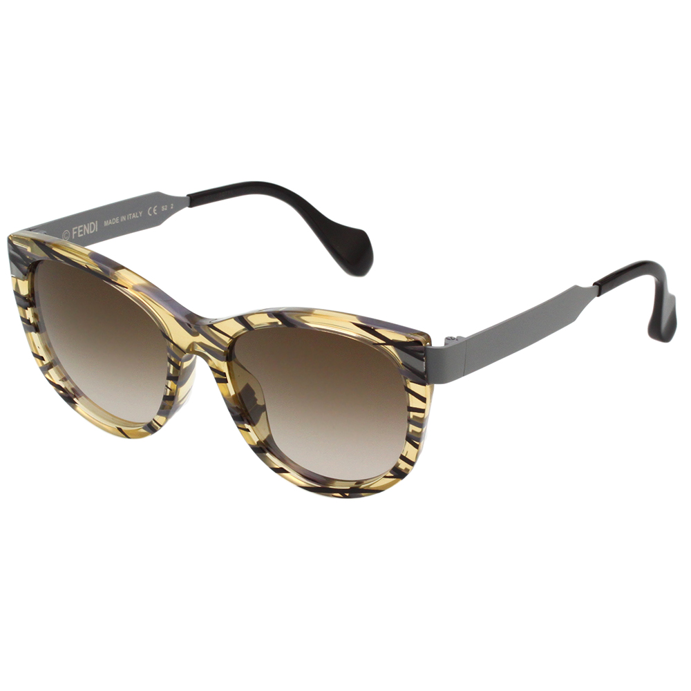 FENDI 方形 紋路 太陽眼鏡 (透明黃色)