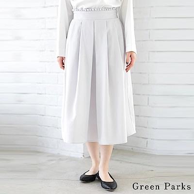 Green Parks 腰際褶邊素面打褶裙